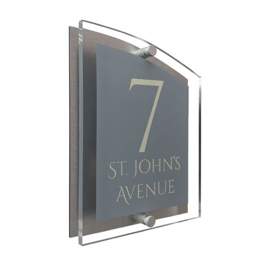 Arc Shape - Clear Acrylic House Sign - Mid Grey Colour with Double Cream text in Font  1